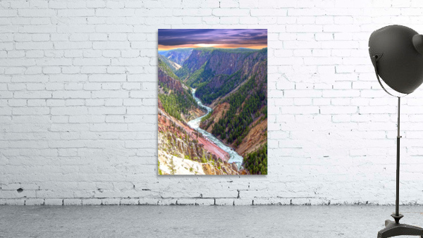Grand Canyon of Yellowstone in the Waning Light of Day - Yellowstone National Park at Sunset