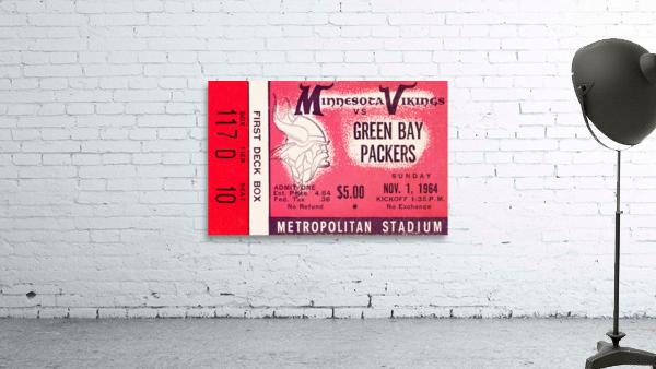 1964 Minnesota Vikings vs. Green Bay Packers Ticket Canvas