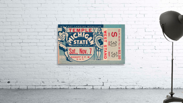 1936 Michigan State vs. Temple Football Ticket Art