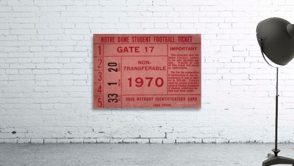 1970 Notre Dame Football Student Season Ticket Art