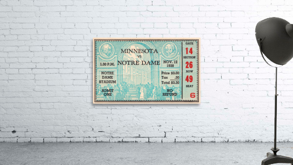 1938 Minnesota vs. Notre Dame Football Ticket Canvas