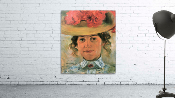 Womens Half-portrait with straw hat by Lovis Corinth