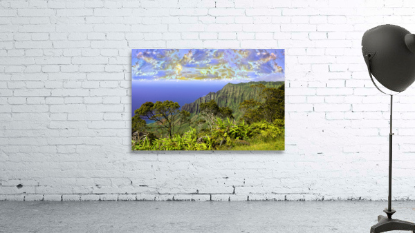 Sunset at Puu O Kila Lookout Kohala Mountains on the Island of Kauai in Hawaii
