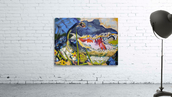 Louisiana Alligator with Wildflowers