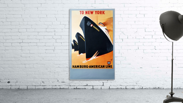 To New York Hamburg American Line travel poster