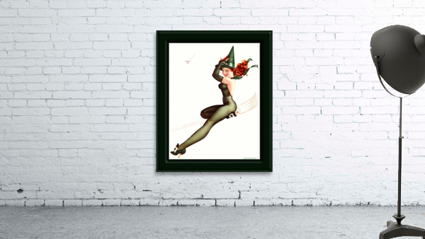 Witch On A Broomstick by George Brown Petty Vintage Xzendor7 Old Masters Artwork Reproductions