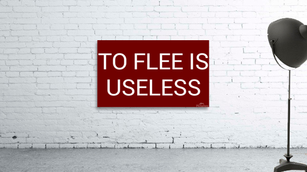 TO FLEE IS USELESS blood red by Lenie Blue