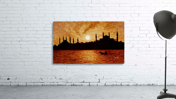 Sunset Over Istanbul Original Coffee Painting