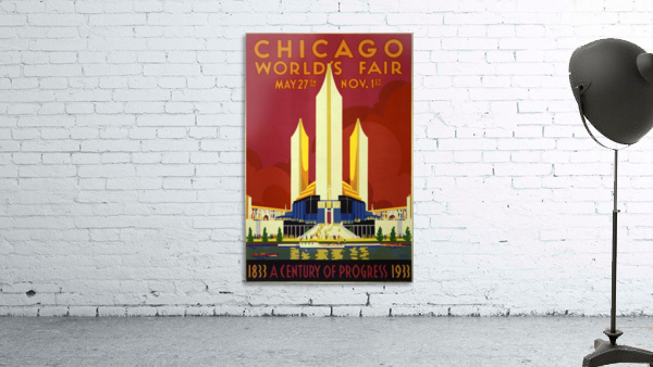 A vintage travel poster promoting the 1933 World Fair in Chicago