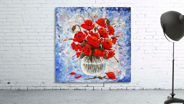 Morning Red Poppies original palette knife painting