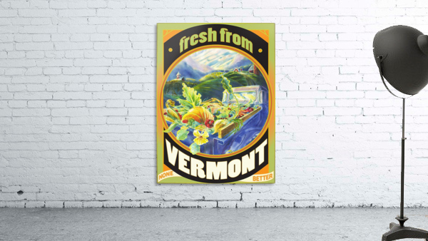 Faux Vintage Fresh from Vermont Travel Poster