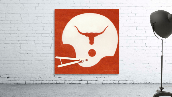 1983 Texas Longhorn Football Helmet Art Brushed Metal Sign