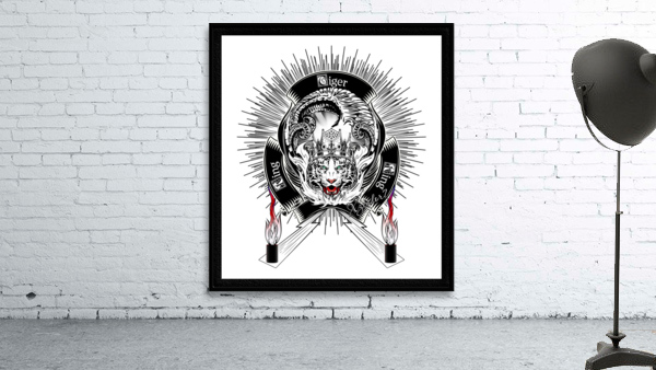 White Tiger King Tiger Art Emblem by Xzendor7