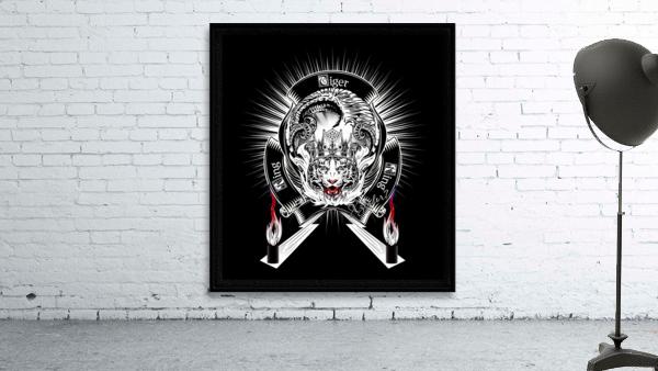 White Tiger King Tiger Art Emblem BlkBgnd by Xzendor7