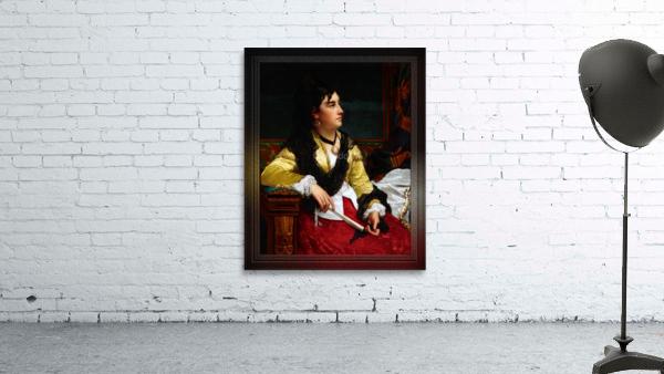 Portrait Of A Noblewoman Holding A Fan by Jan Frederik Pieter Portielje Classical Fine Art Xzendor7 Old Masters Reproductions