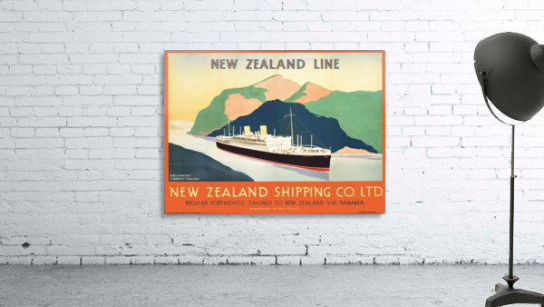 Vintage travel advert for transport to New Zealand via Panama