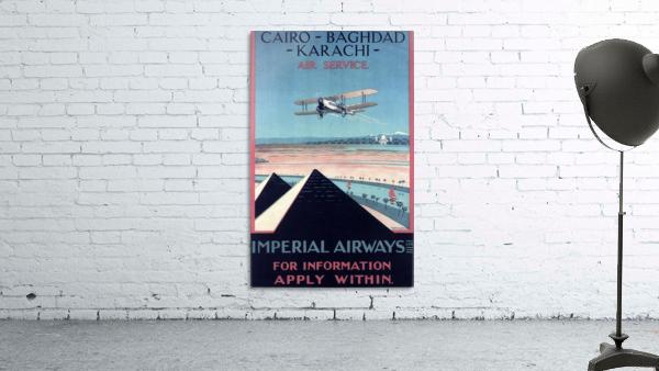 Airways Cairo Baghdad Karachi Vintage Travel Poster