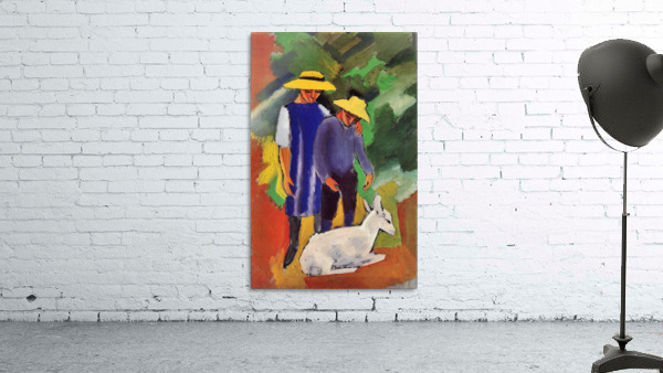 Children with goat by August Macke