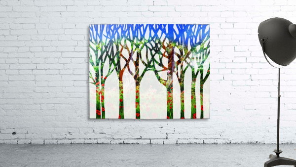 Watercolor Forest Silhouette Summer