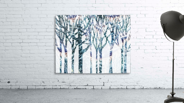 Watercolor Forest Silhouette Winter