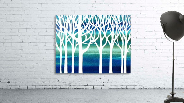 White And Teal Forest