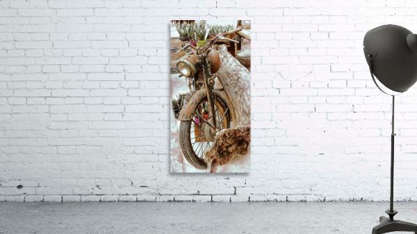 Old Rusty Motorbike Against Tree Stump