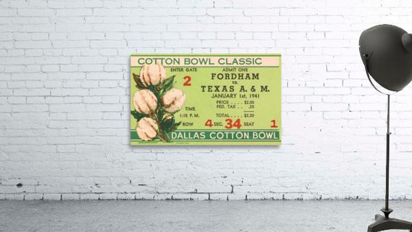 1941 Fordham vs. Texas AM Cotton Bowl Ticket Art