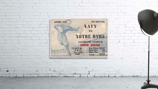 1945 Notre Dame vs. Navy Football Ticket Stub Metal Sign