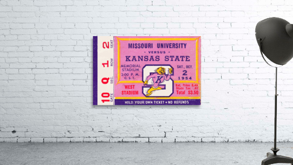 1954 Missouri Tigers vs. Kansas State Wildcats Ticket Stub Art