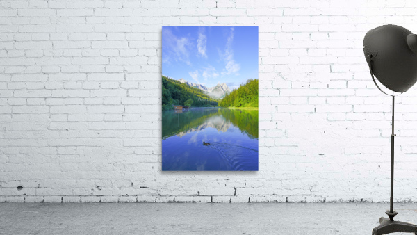 Blue Skies over the Riessersee in the Bavarian Alps near Garmisch Germany