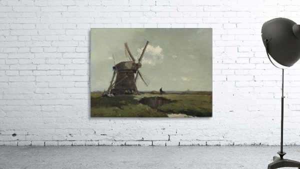 Windmill in a polder landscape, near Noorden