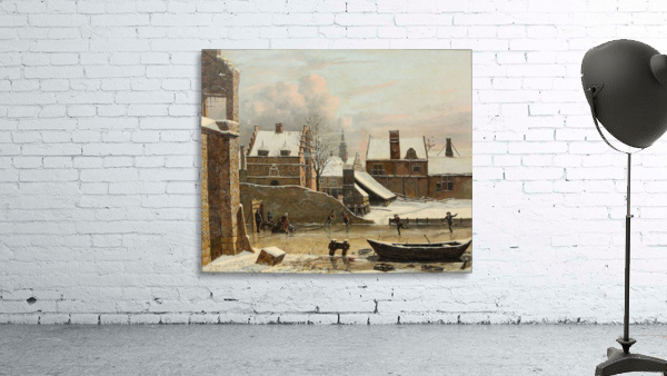 View of a City in Winter with Ice Skaters