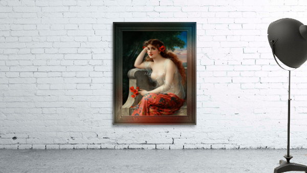 Girl with a Poppy byEmile Vernon Wall Decor Xzendor7 Old Masters Art Reproductions