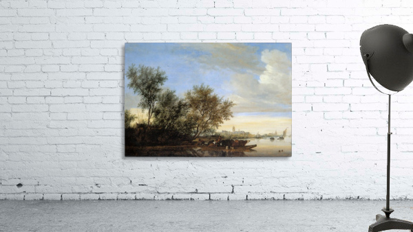 River landscape with ferry Sun