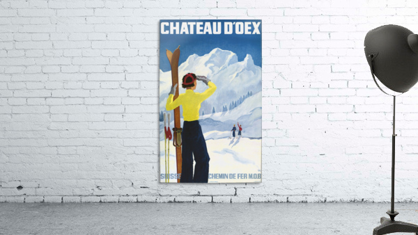 Poster for the village of Chateau dOex in the canton of Vaud in Switzerland