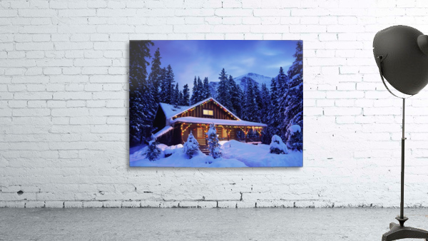Cabin in the woods illuminated by Christmas lights