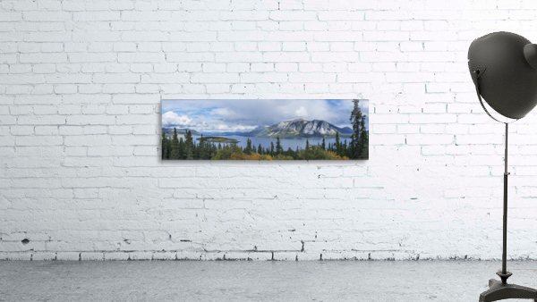 Fall showers create a rainbow over Tagish Lake, Bove Island, along the Klondike Highway, Yukon Territory, Canada