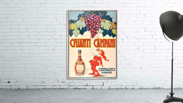 Original Vintage 1940 Advertising Poster For Chianti Campani