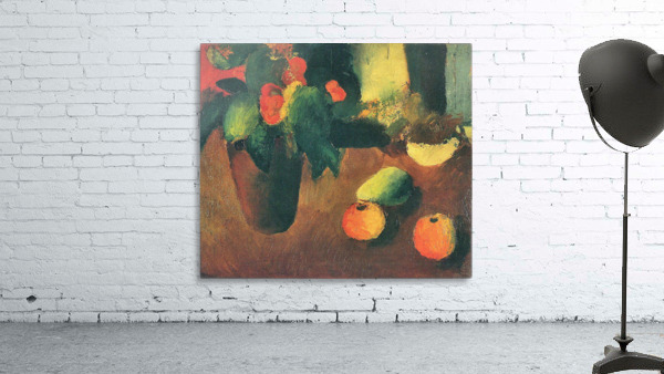 Still Life with begonia, apples and pear by August Macke