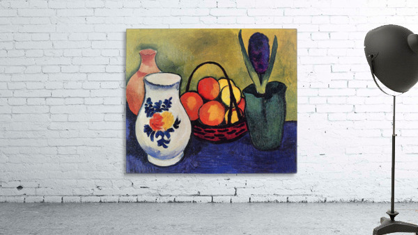 White jug with flowers and fruits by August Macke