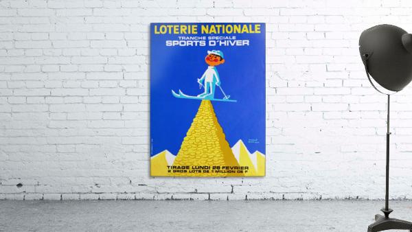 Loterie Nationale original vintage poster ski winter sport