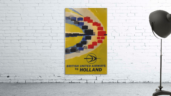 British United Airlines to Holland travel poster - VINTAGE POSTER - Canvas Artwork
