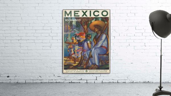 Mexico Xochimilco vintage poster