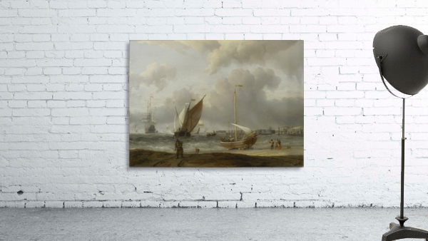 Fishing boats in storm off the Dutch Coast at Den Helder