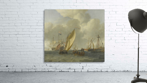 Dutch ships on choppy coastal waters by a spit of land with a beacon
