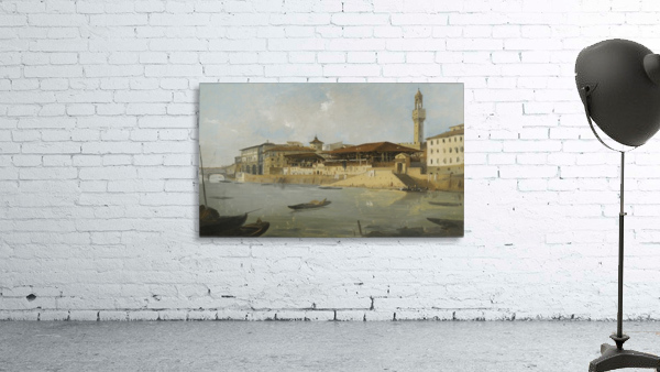 Florence, a view of the Arno with the Tiratoio delle Grazie