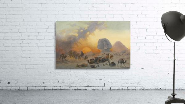 A caravan fleeing from a desert simoom near the sphinx