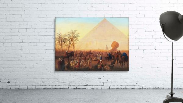 Caravan having a break at the pyramids
