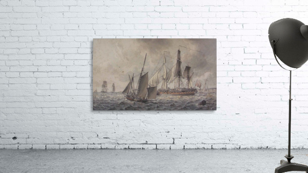 Frigate and fishing boats in harbor in the collection at The Mariners
