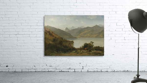 Landscape with a lake and animals